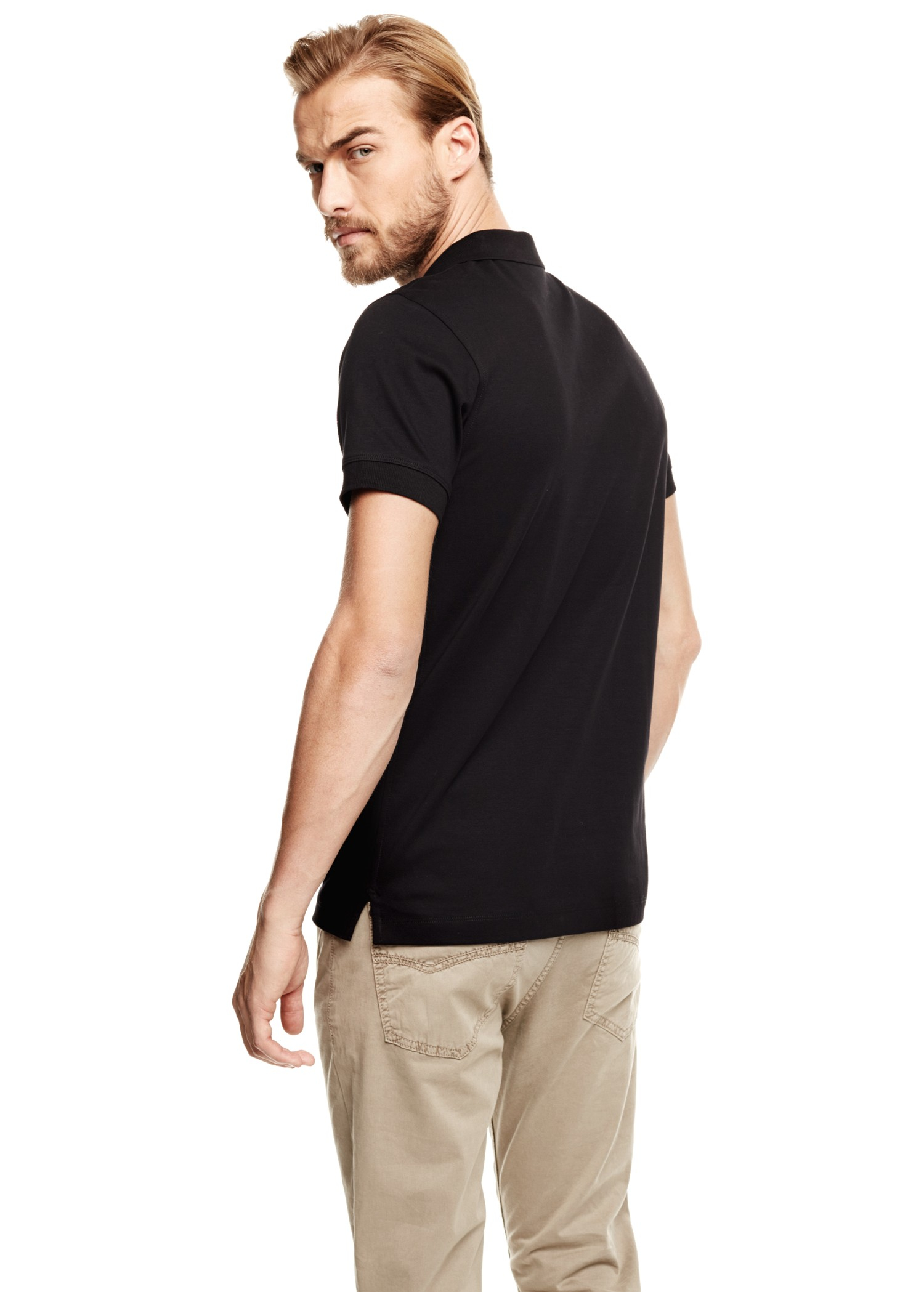 Mango essential cotton polo shirt in black for men lyst for Black cotton polo shirt