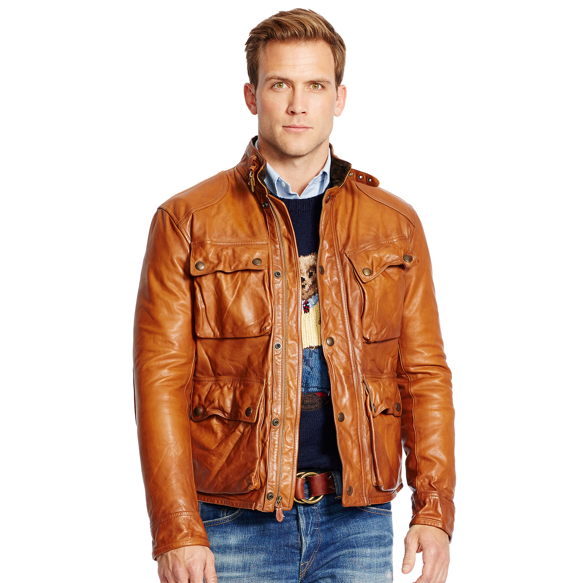 abc292faf Polo Ralph Lauren Southbury Leather Biker Jacket in Brown for Men - Lyst