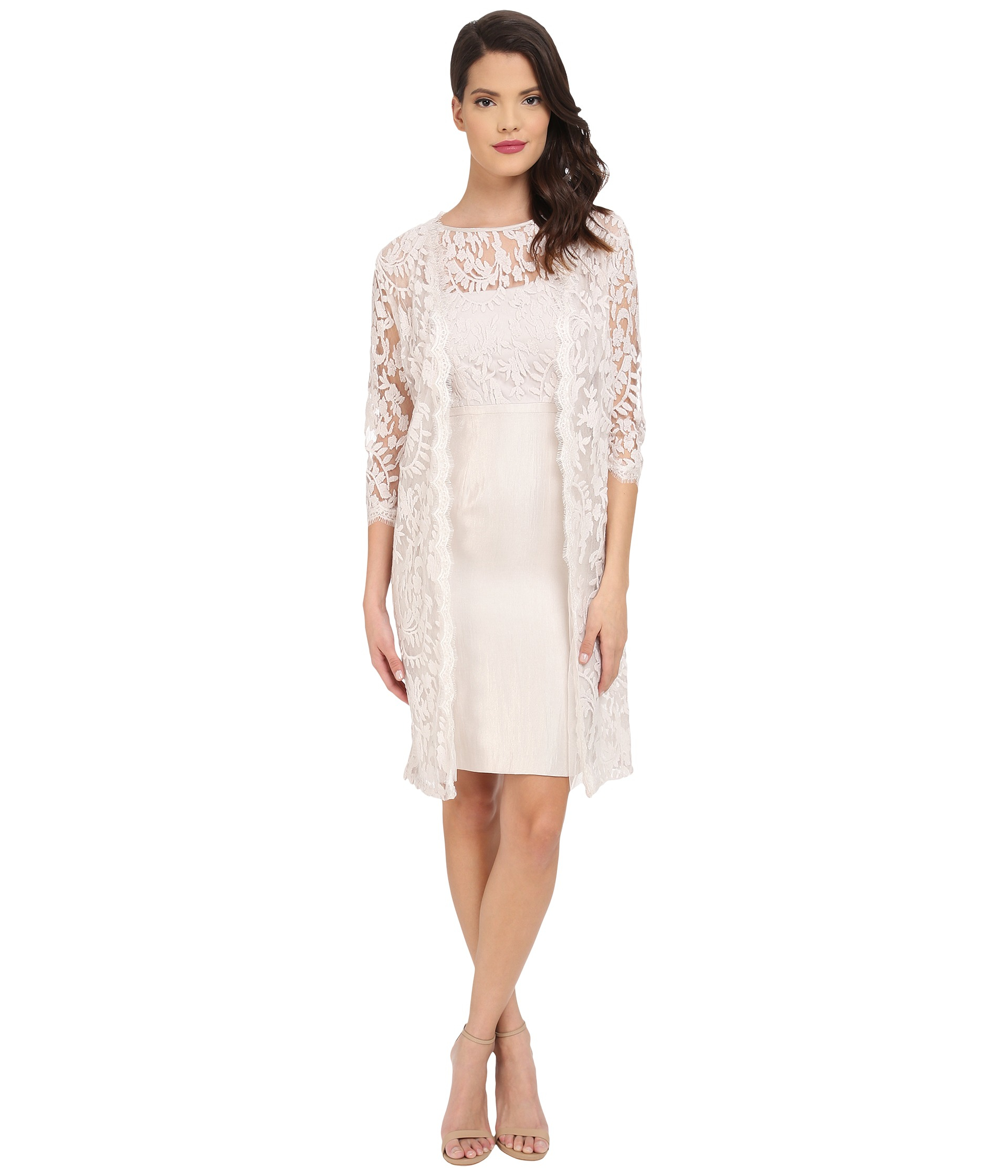 Adrianna papell Bow Detail Lace Top Sheath With Long Jacket in ...