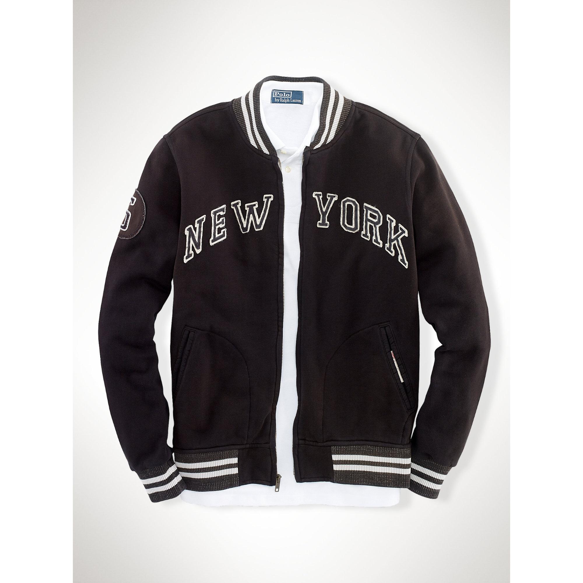 Polo ralph lauren Ny Fleece Baseball Jacket in Black for Men | Lyst