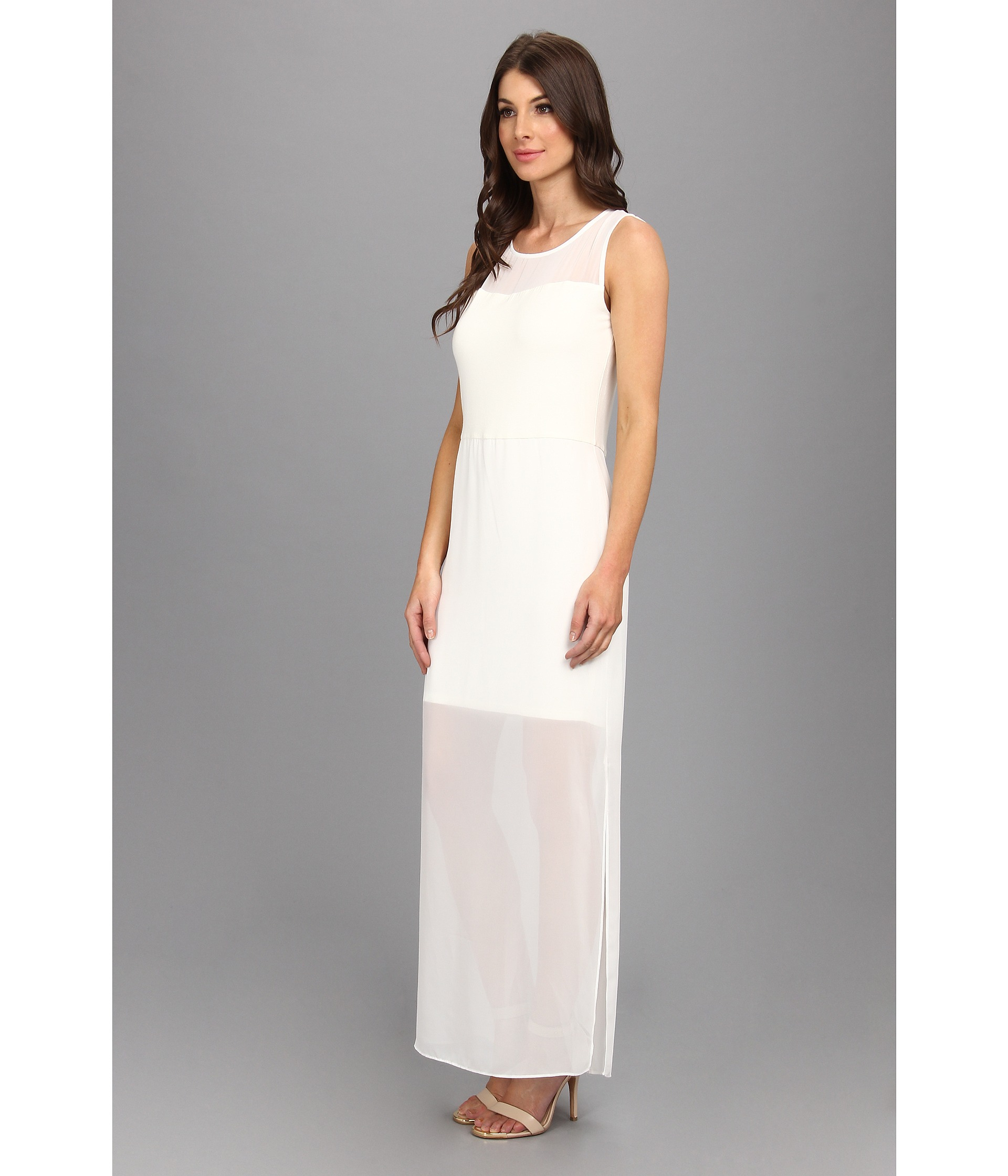 Vince Camuto Chiffon Overlay Maxi Dress In White Lyst