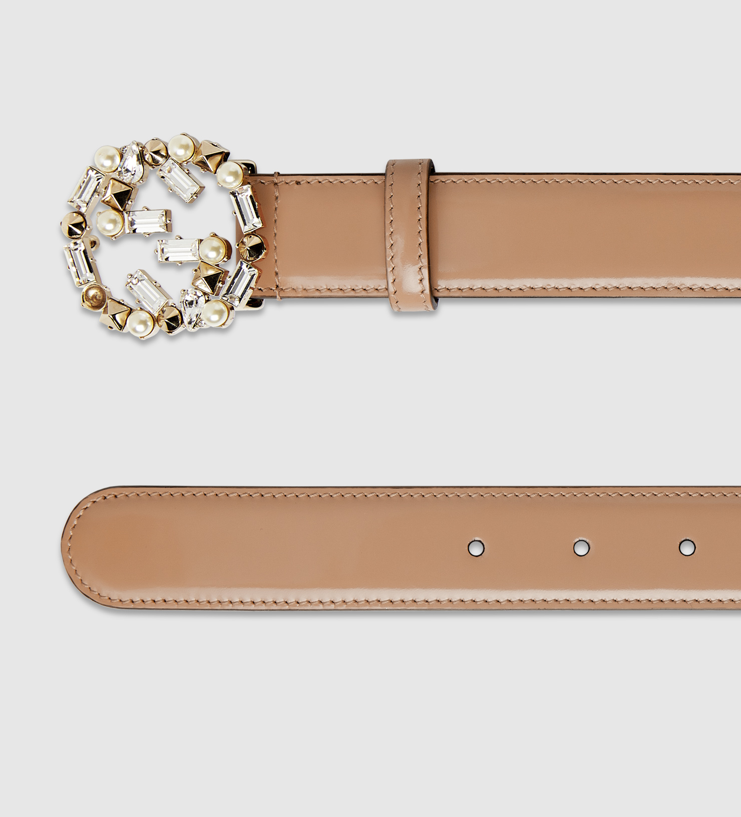 9fae74c5408 Lyst - Gucci Leather Belt With Pearl And Crystal Interlocking G ...