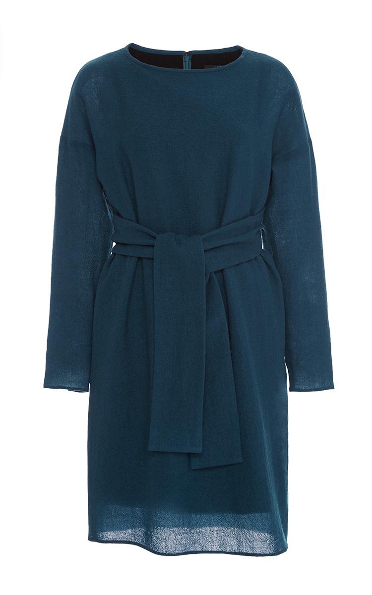 c9fd0944b10 Tibi Aurora Wool Draped Tie Waist Dress in Blue - Lyst