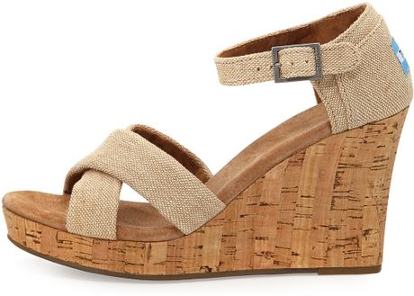 Toms Fabric Cork Wedge Sandal In Beige Natural Lyst