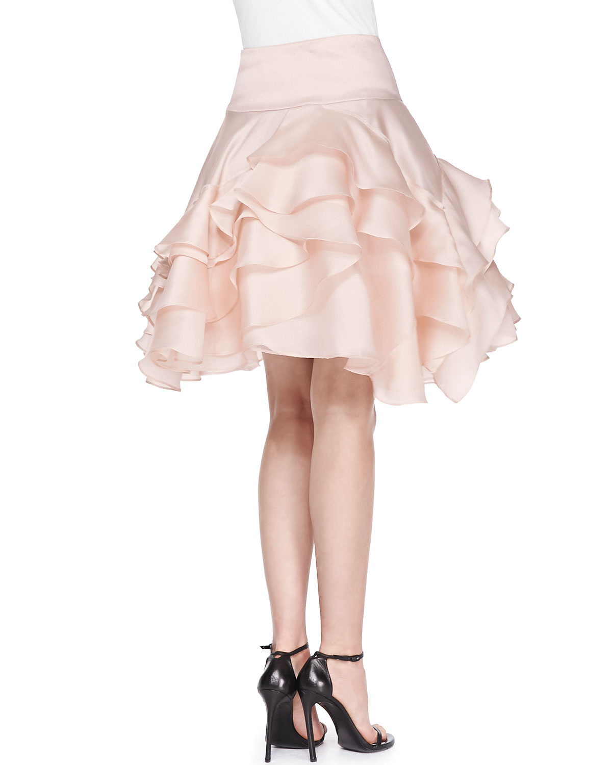 c1e911aa1 MILLY Tara Tiered Ruffle Skirt in Pink - Lyst