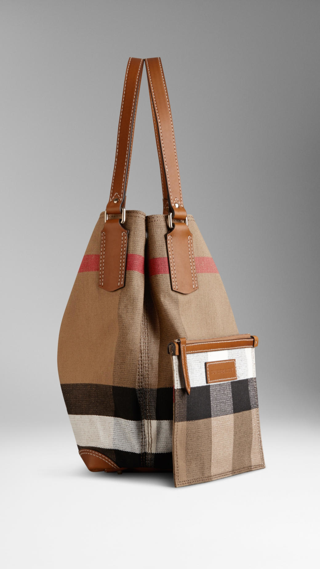 52cf319f535e Lyst - Burberry Medium Canvas Check Tote Bag in Brown