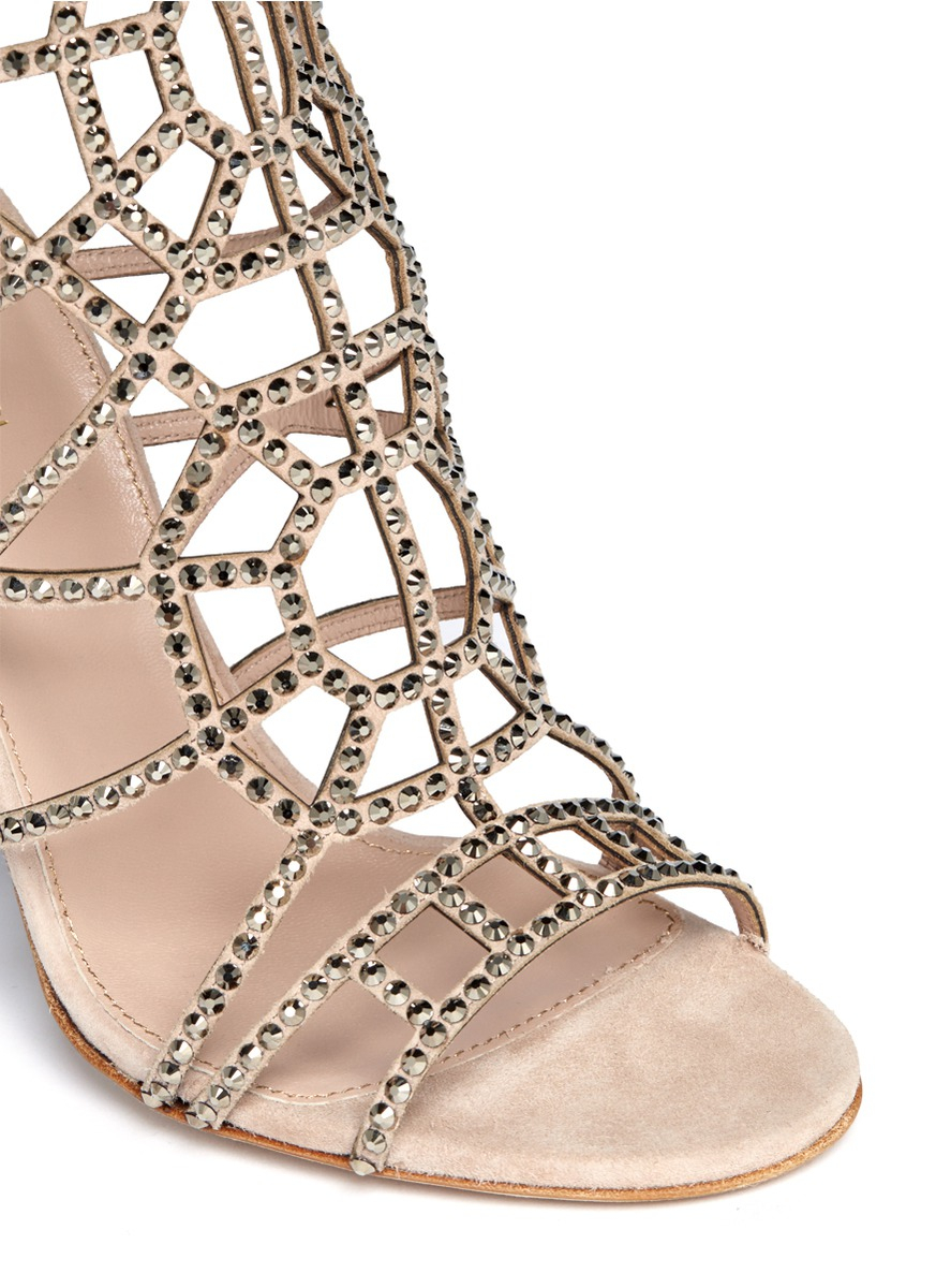 ddec016e2631 Sergio Rossi Puzzle Rhinestone Strappy Sandals in Natural - Lyst