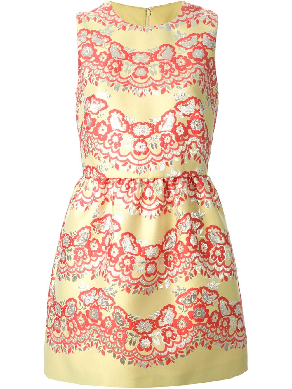 Red and yellow floral dress