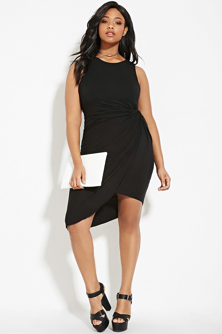 Lyst Forever 21 Plus Size Faux Wrap Dress In Black
