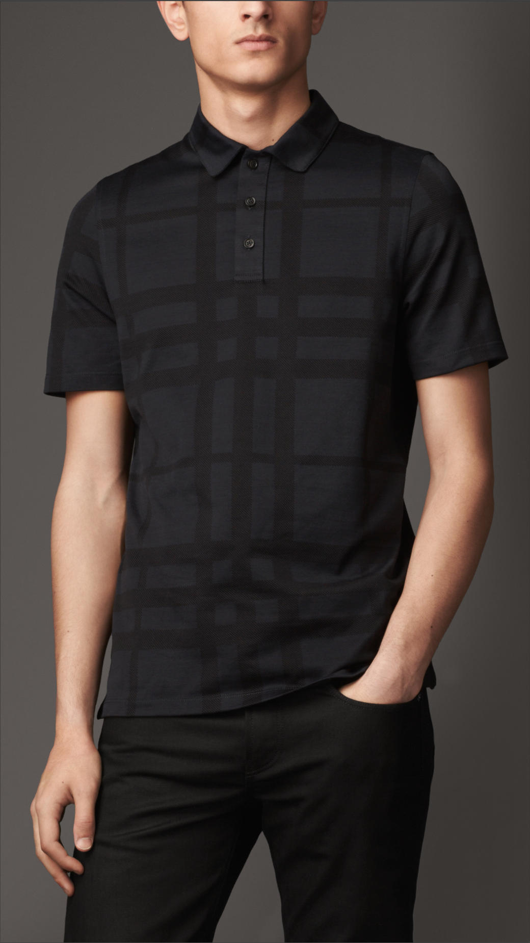 Lyst burberry check cotton polo shirt in black for men for Cotton polo shirts for men