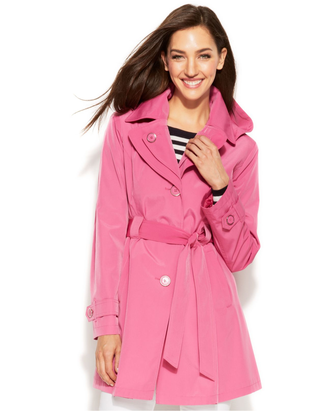 8054becfb48 Lyst - London Fog Hooded Layered-Lapel Trench Coat in Pink