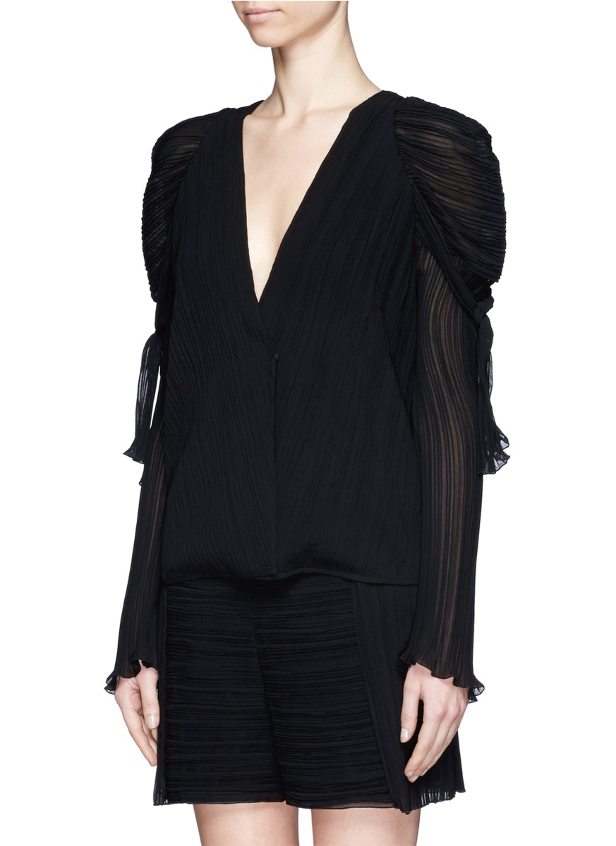 Chlo 233 Pliss 233 Puff Shoulder Top In Black Lyst