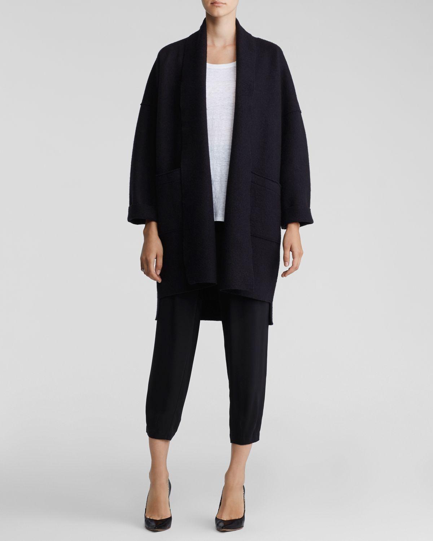 Eileen fisher Wool Kimono Coat in Black   Lyst