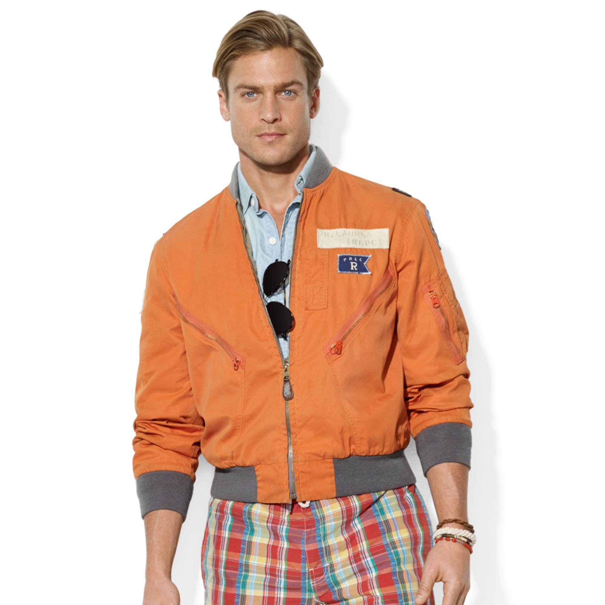 Ralph lauren Polo Reversible Flight Jacket in Orange for Men | Lyst