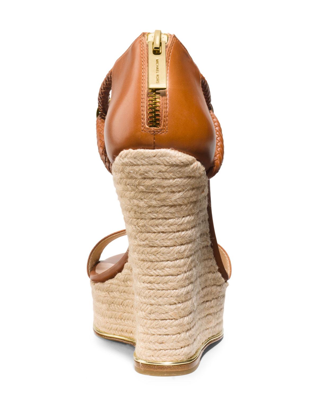 Michael Kors Sherie T Strap Wedge Sandal In Brown Lyst
