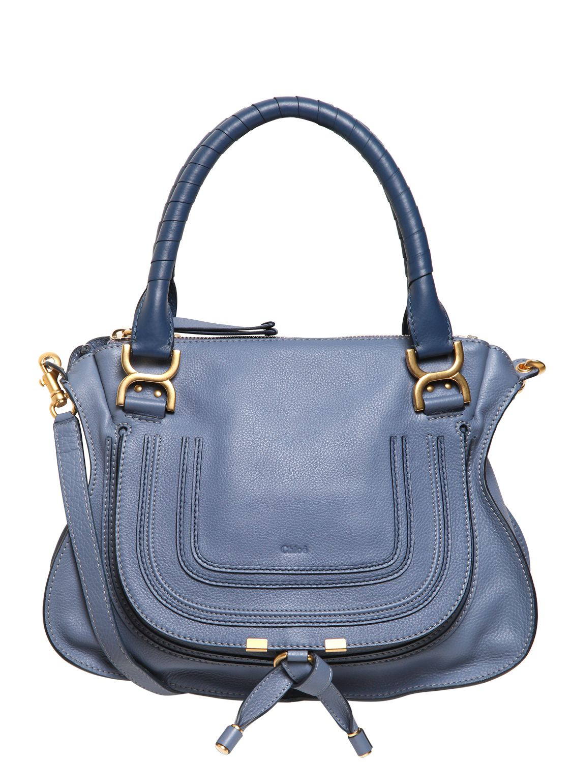 Chlo¨¦ Medium Marcie Textured Leather Bag in Blue (STREET BLUE) | Lyst