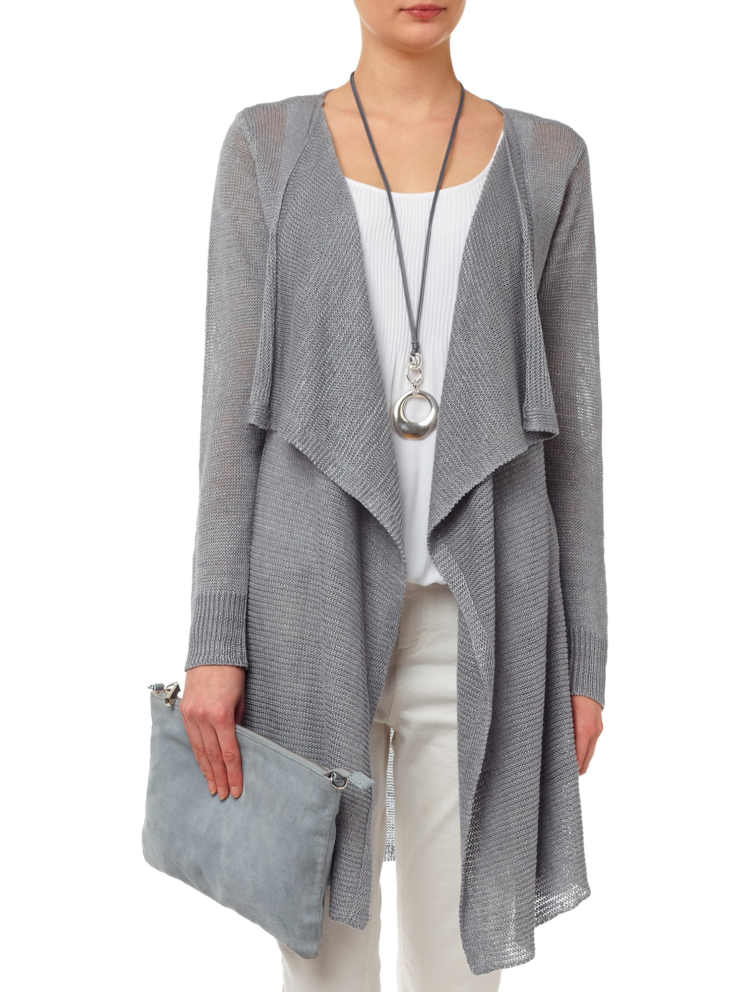 Phase eight Luella Linen Cardigan in Gray | Lyst
