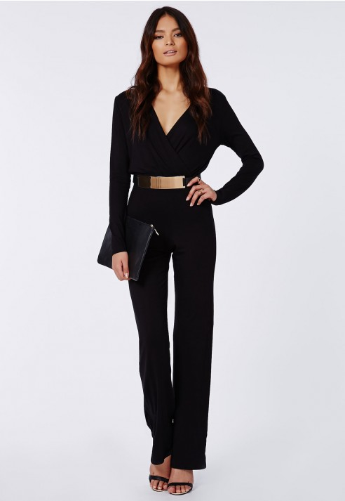 41cd1dcacd2 Lyst - Missguided Deliana Long Sleeved Wrap Wide Leg Jumpsuit Black ...