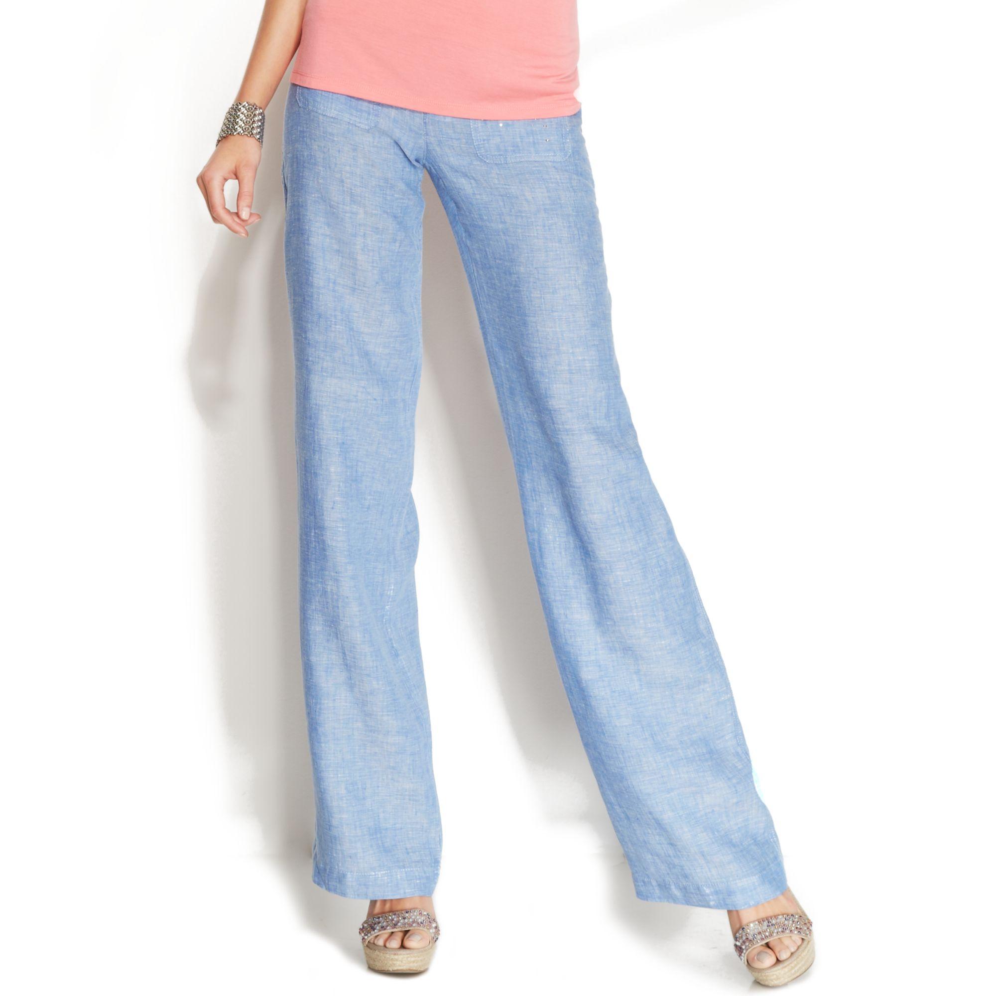 Inc international concepts Petite Embellished Wideleg Linen Pants ...