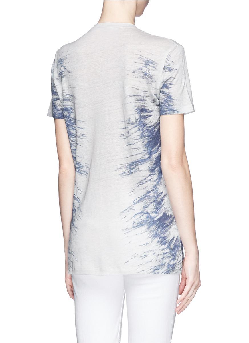 Iro 39 gella 39 tie dye print linen t shirt in blue lyst for Tie dye printed shirts