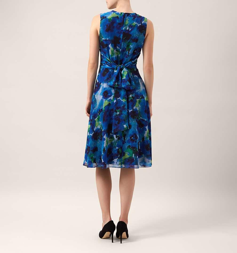 Hobbs Floral Dress Blue Multi