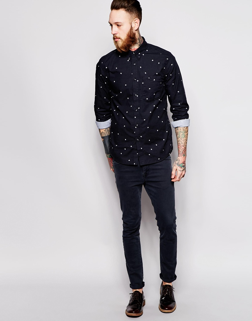Nudie jeans Nudie Shirt Stanley Buttondown Allover Small Fly Print ...