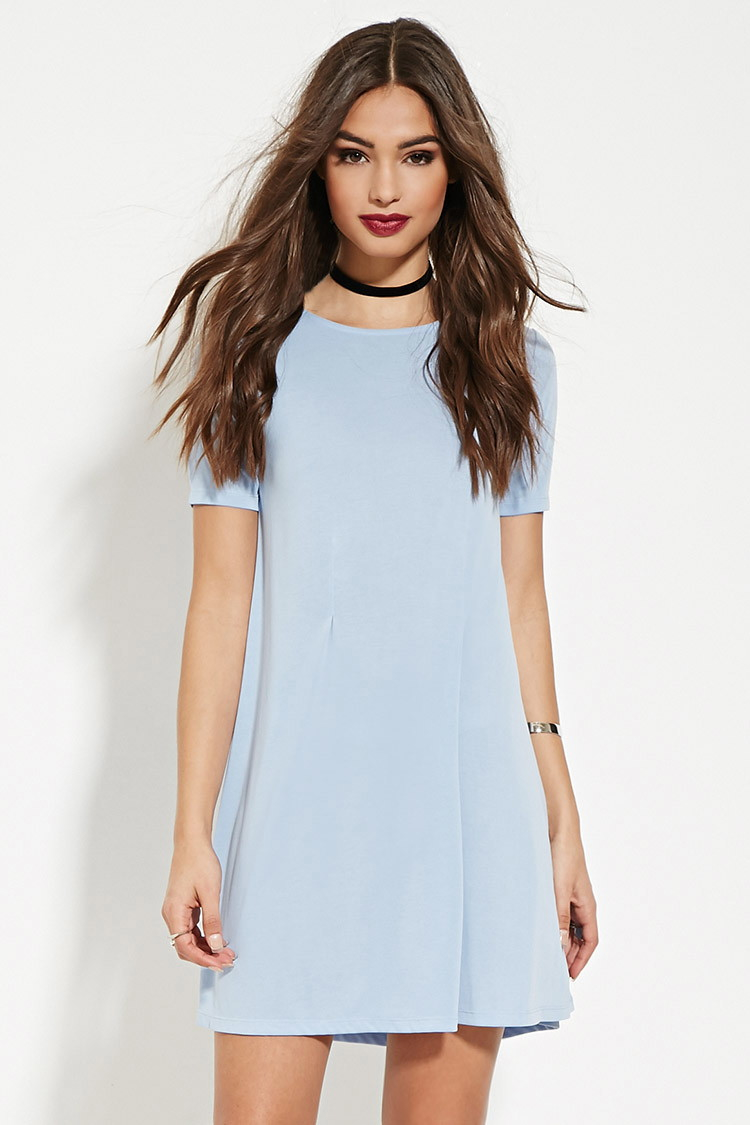 Forever 21 Pleated T-shirt Dress in Blue - Lyst cba92284ecf7