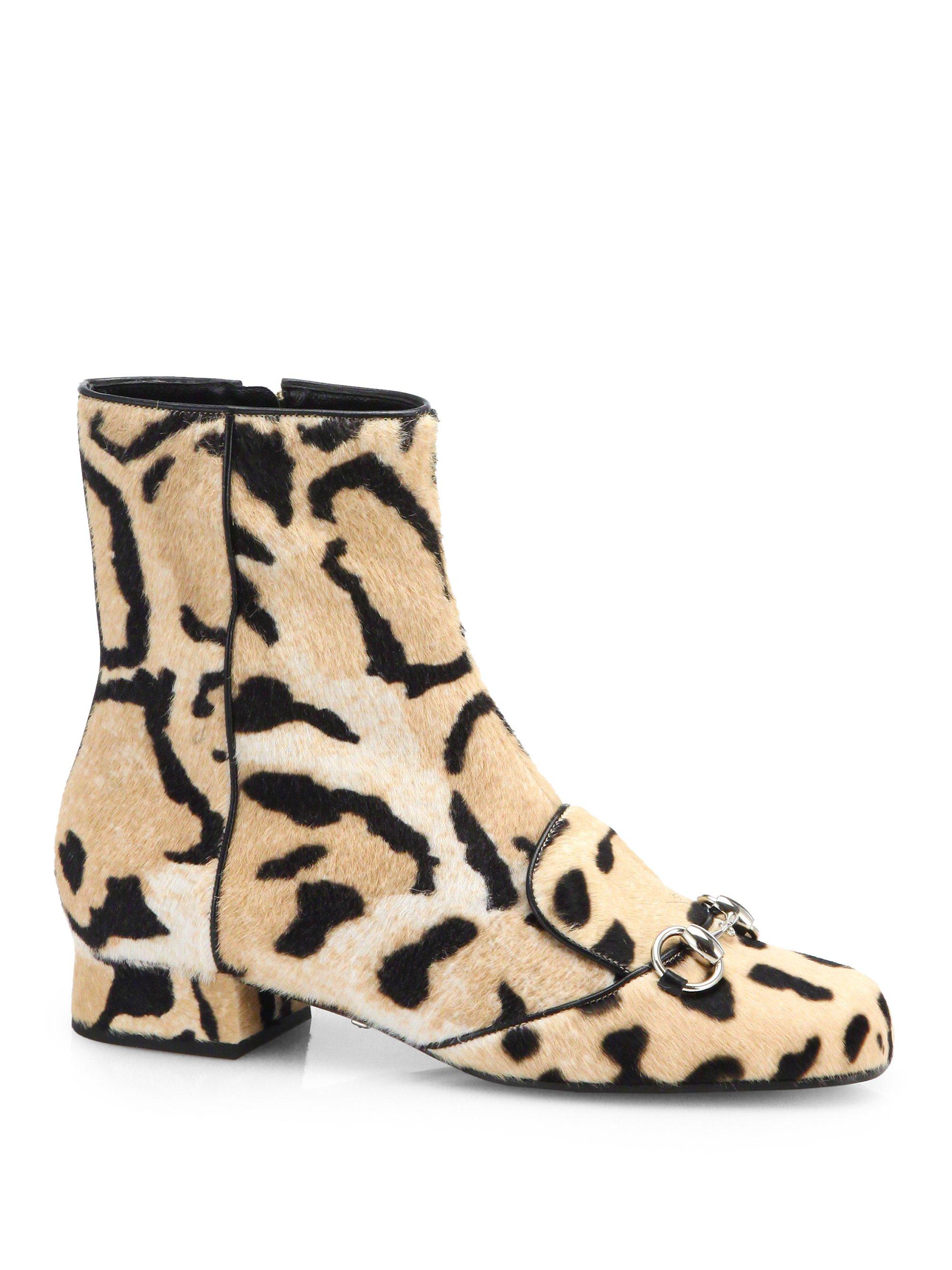 0b75c9454365 Gucci Lillian Horsebit Leopard Calf Hair Ankle Boots - Lyst
