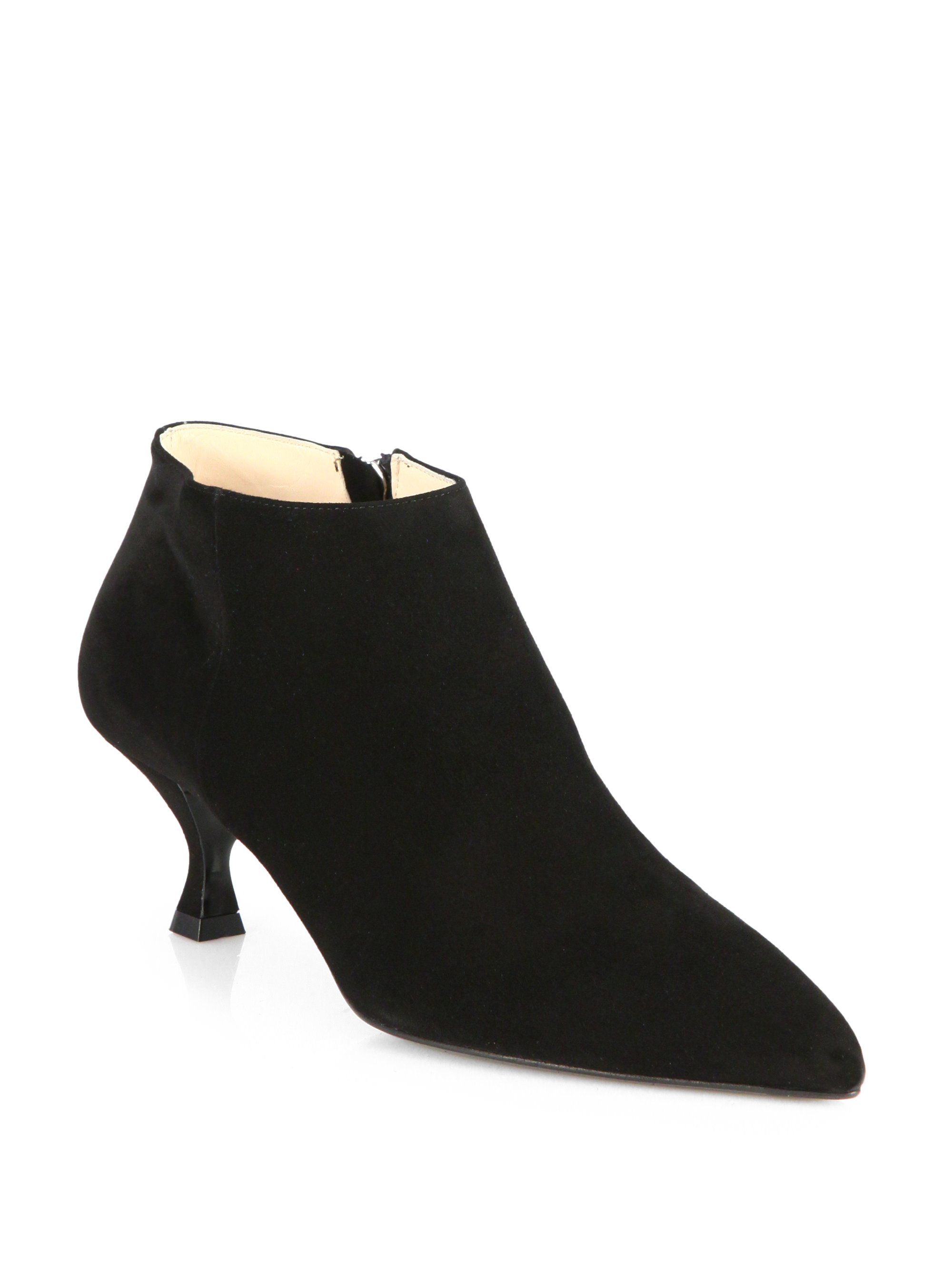 prada suede pointtoe ankle boots in black lyst