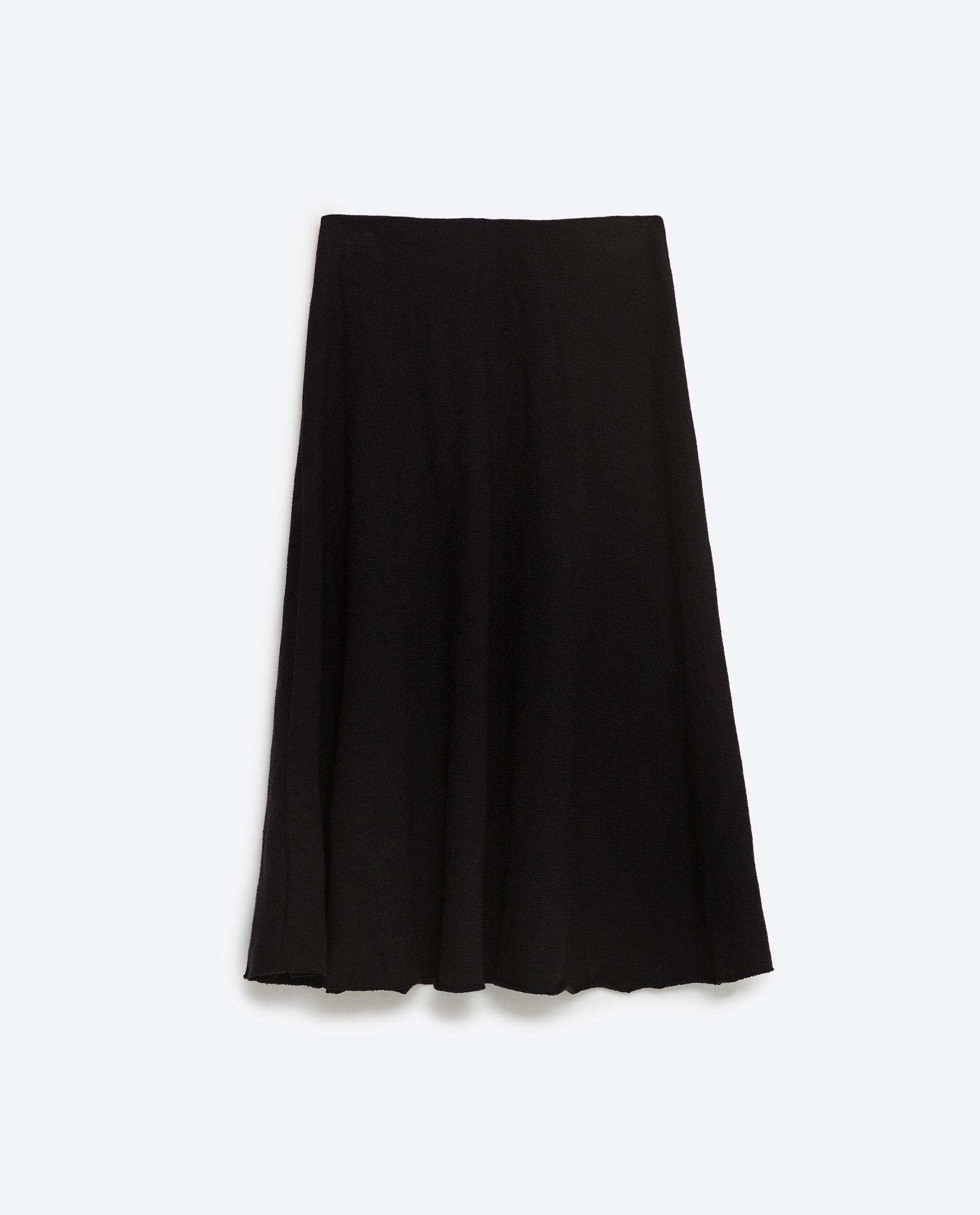 Zara Mid-length Skirt in Black | Lyst