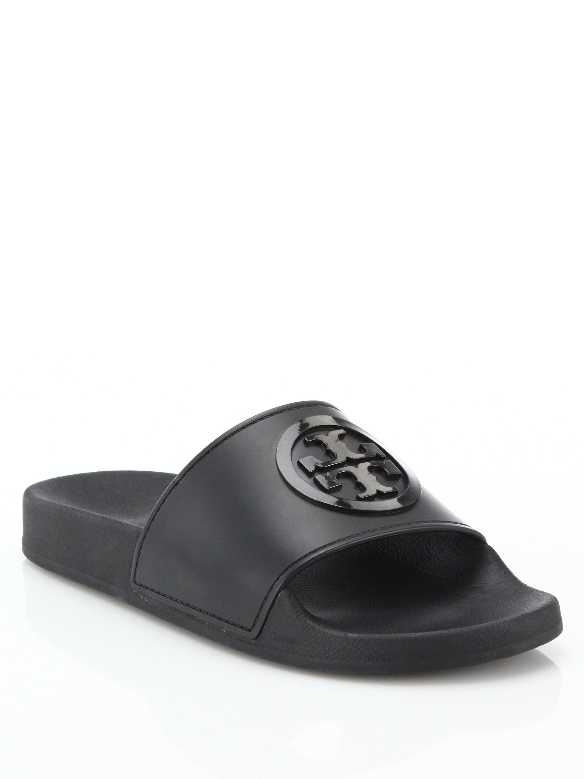 6c7f89346412 Lyst - Tory Burch Jelly Anatomic Flat Slides in Black