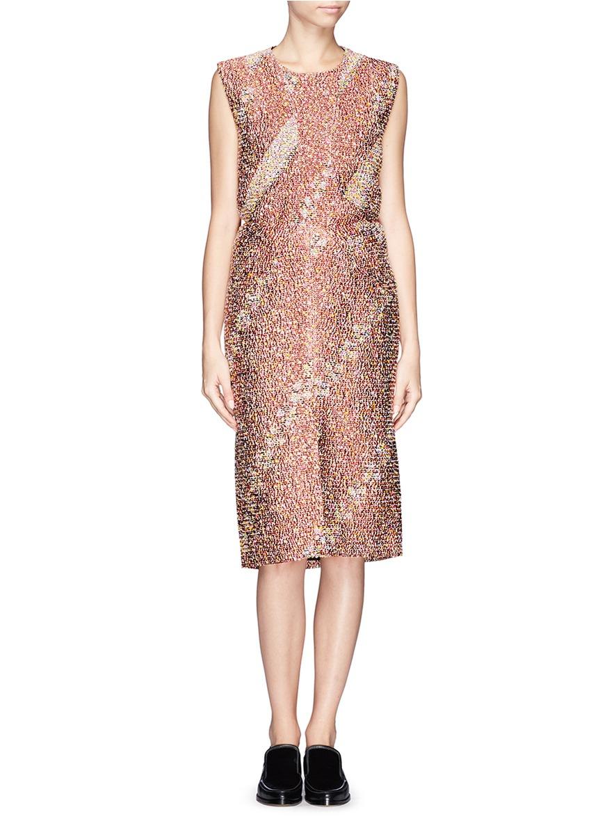 jil sander split front boucl jacquard skirt in pink lyst. Black Bedroom Furniture Sets. Home Design Ideas