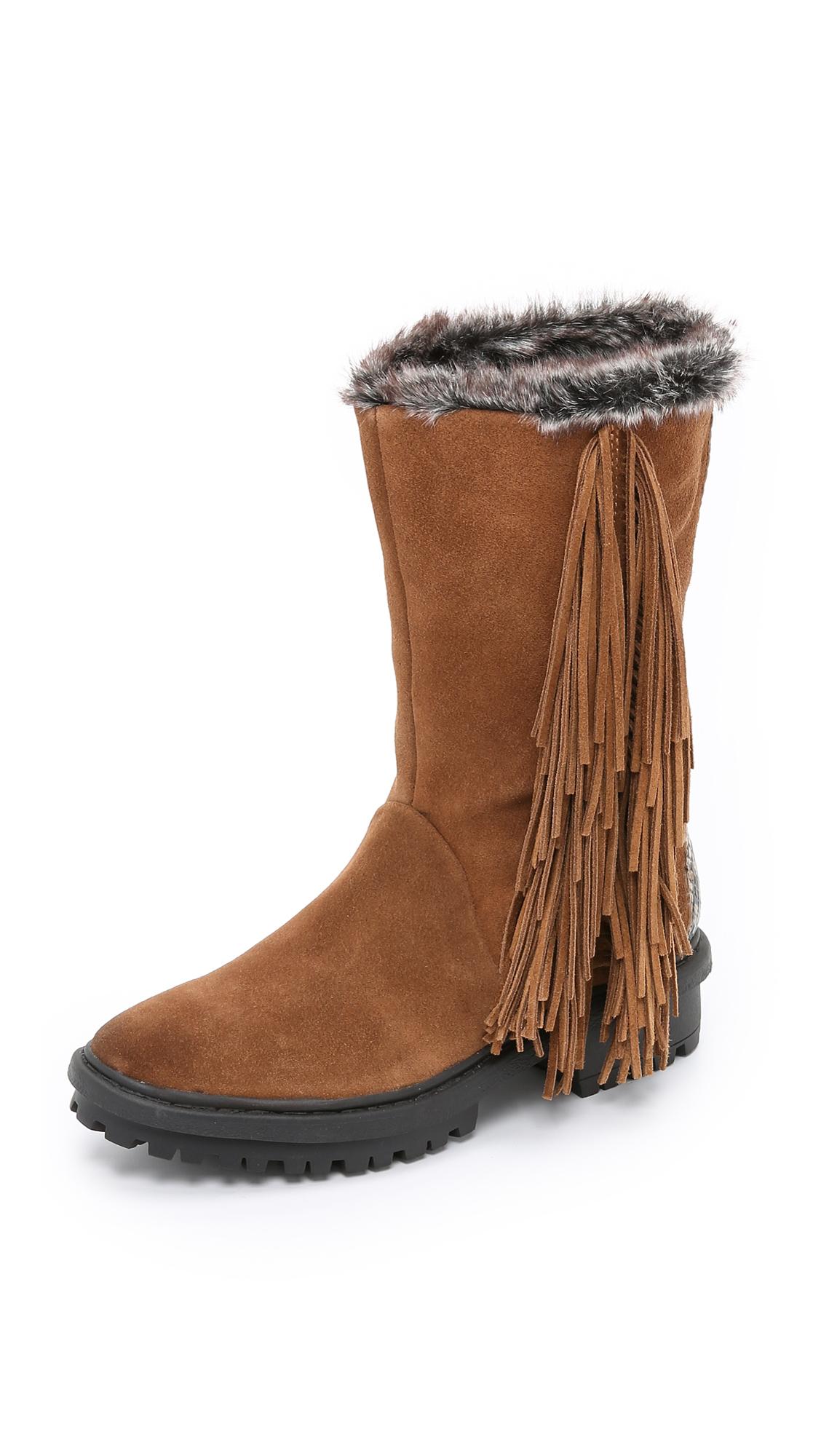 29d541f41589b7 Lyst - Sam Edelman Tilden Faux Fur Lined Fringe Boots - Black in Brown