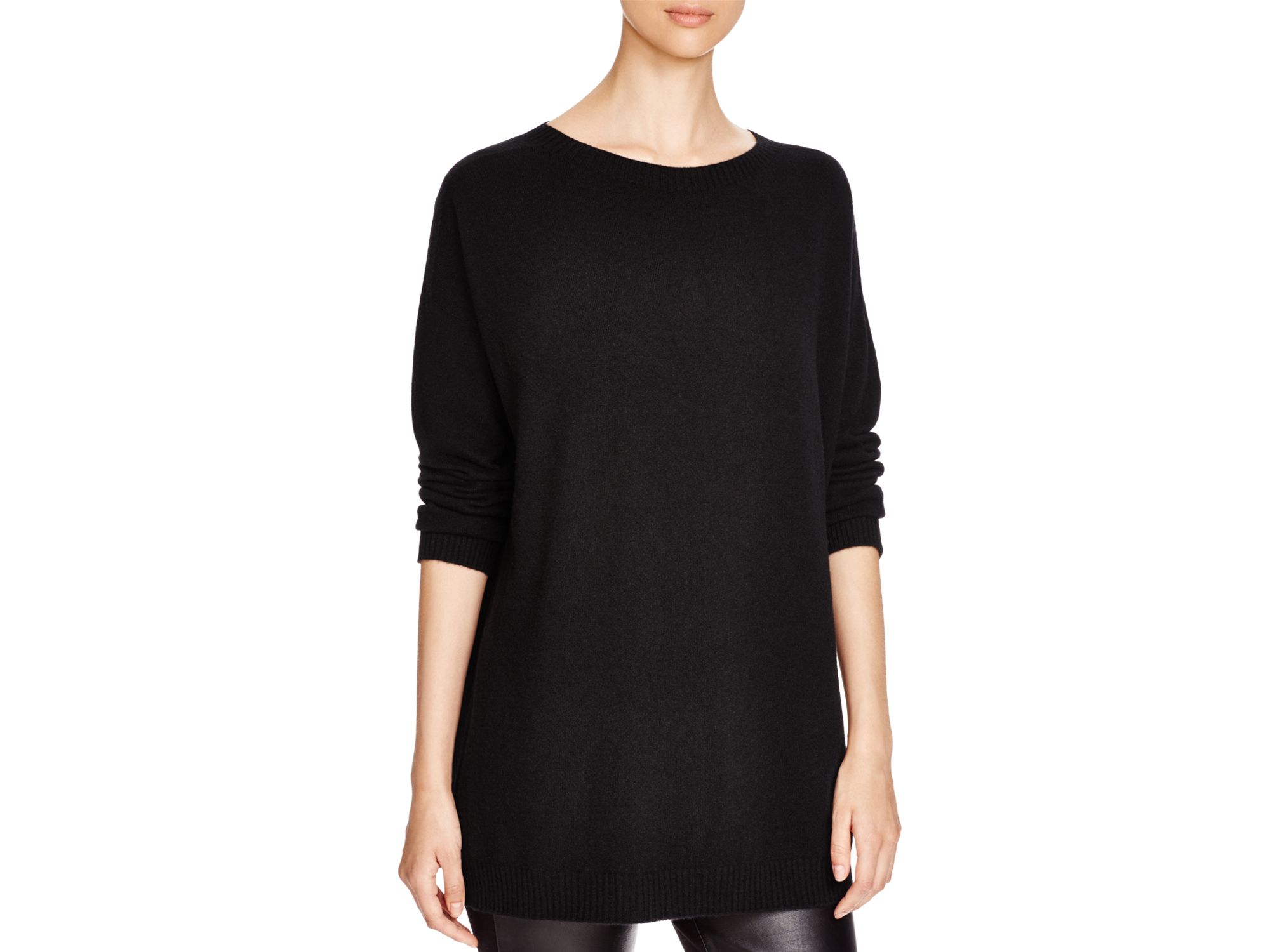 67a3737b93f Eileen Fisher Cashmere Tunic Sweater in Black - Lyst