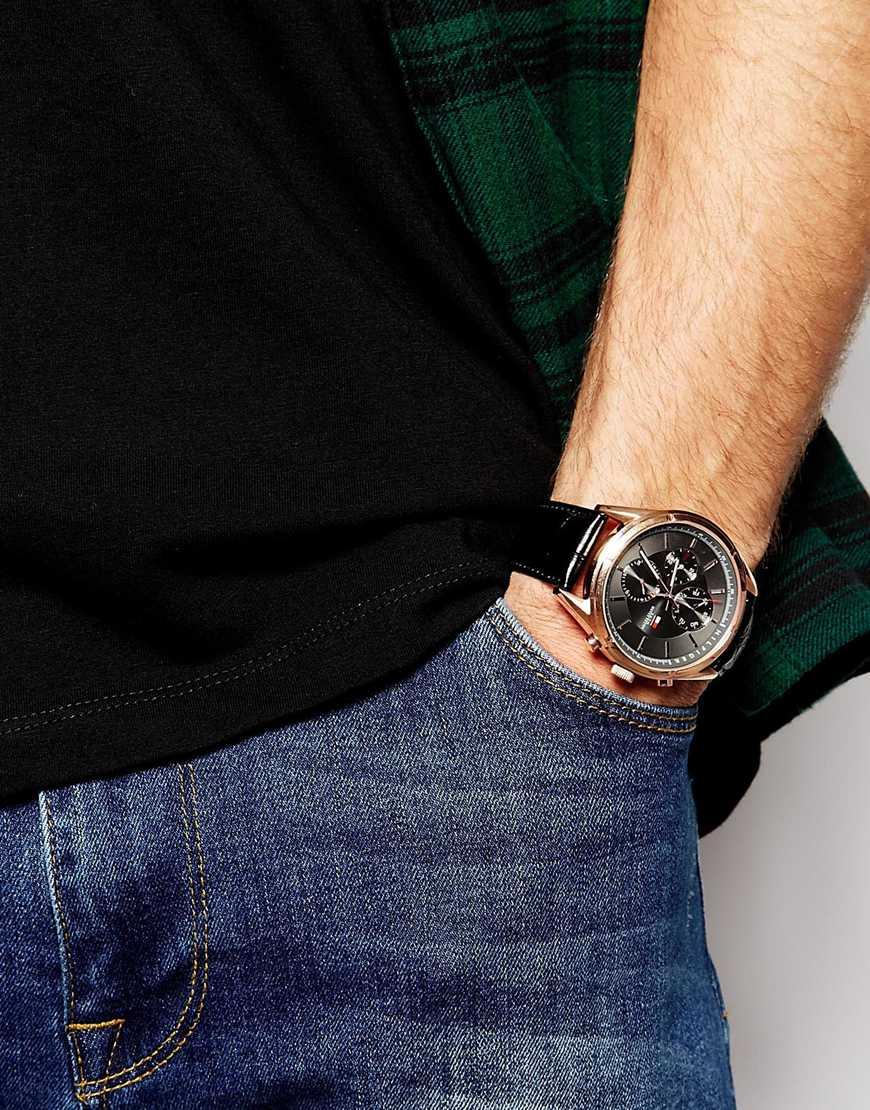 lyst tommy hilfiger charlie watch leather strap watch 1791125 in black for men. Black Bedroom Furniture Sets. Home Design Ideas