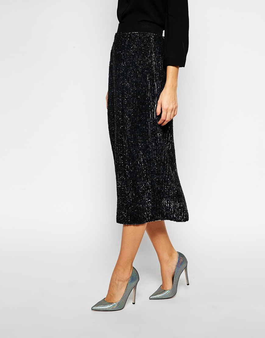 asos sequin embellished midi skirt in black lyst