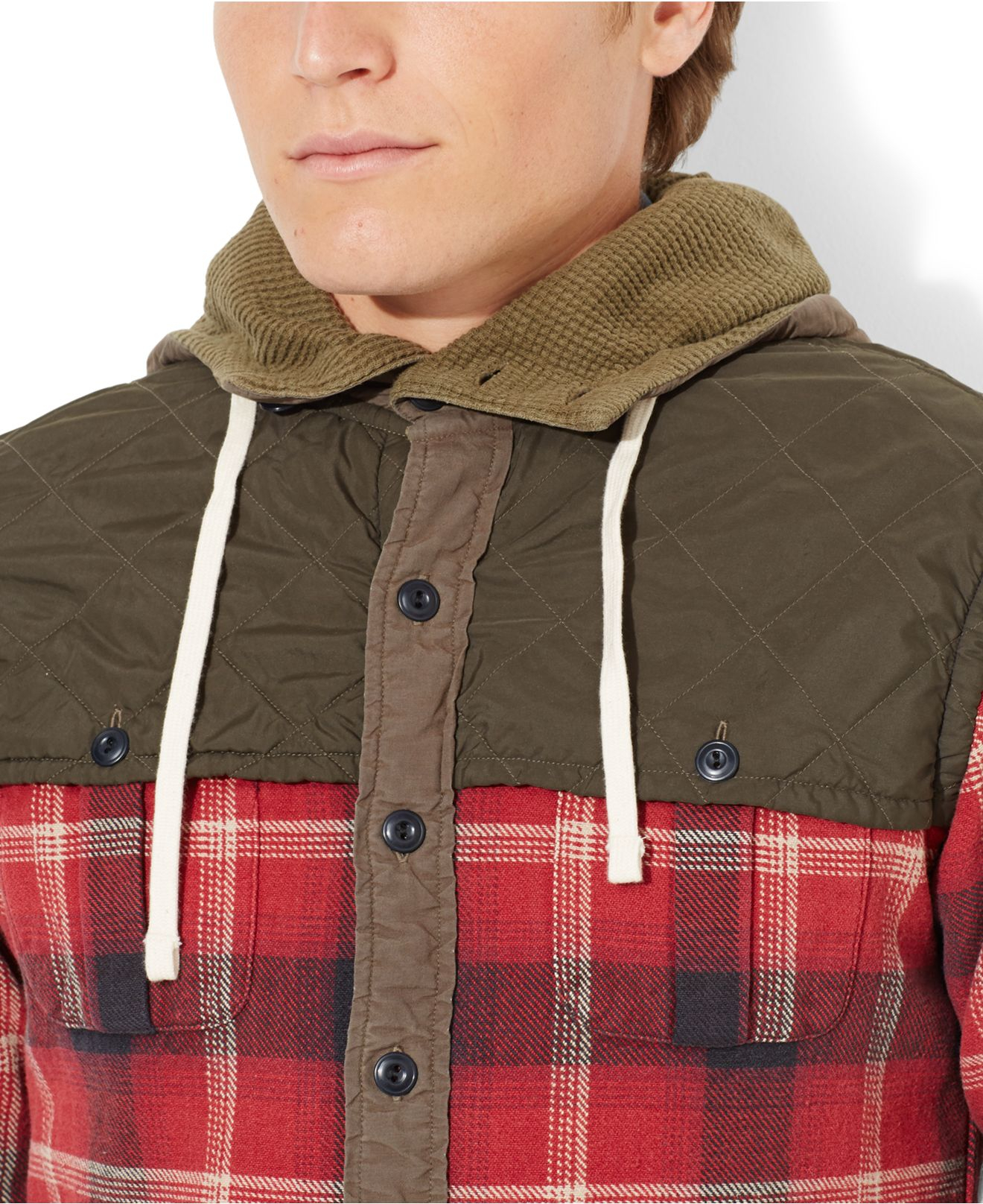634c5fdb8 promo code for lyst polo ralph lauren plaid workshirt hoodie in red for men  bd067 90dc2