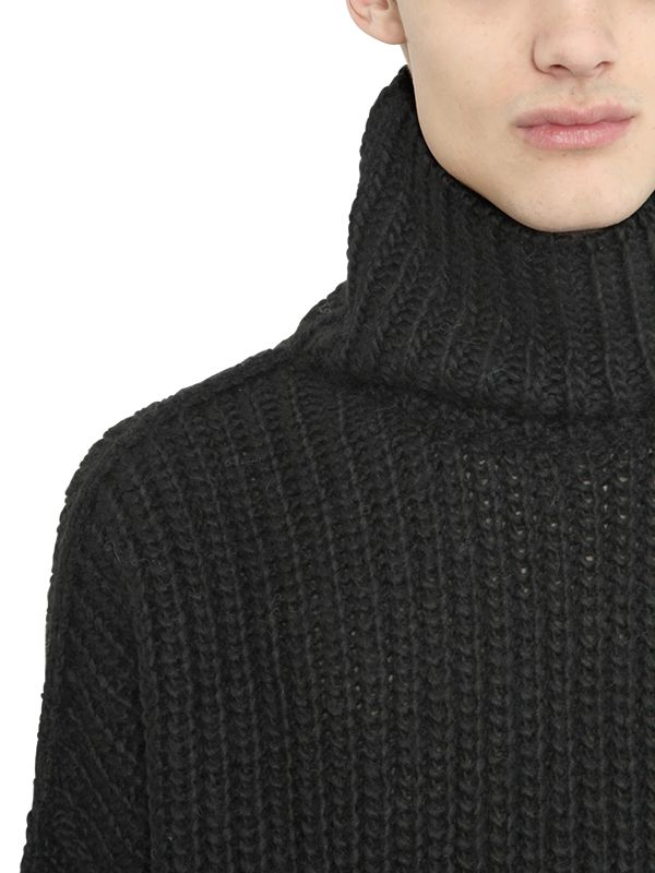 Lyst Blood Brother Wool Blend Rib Knit Turtleneck Sweater In Black