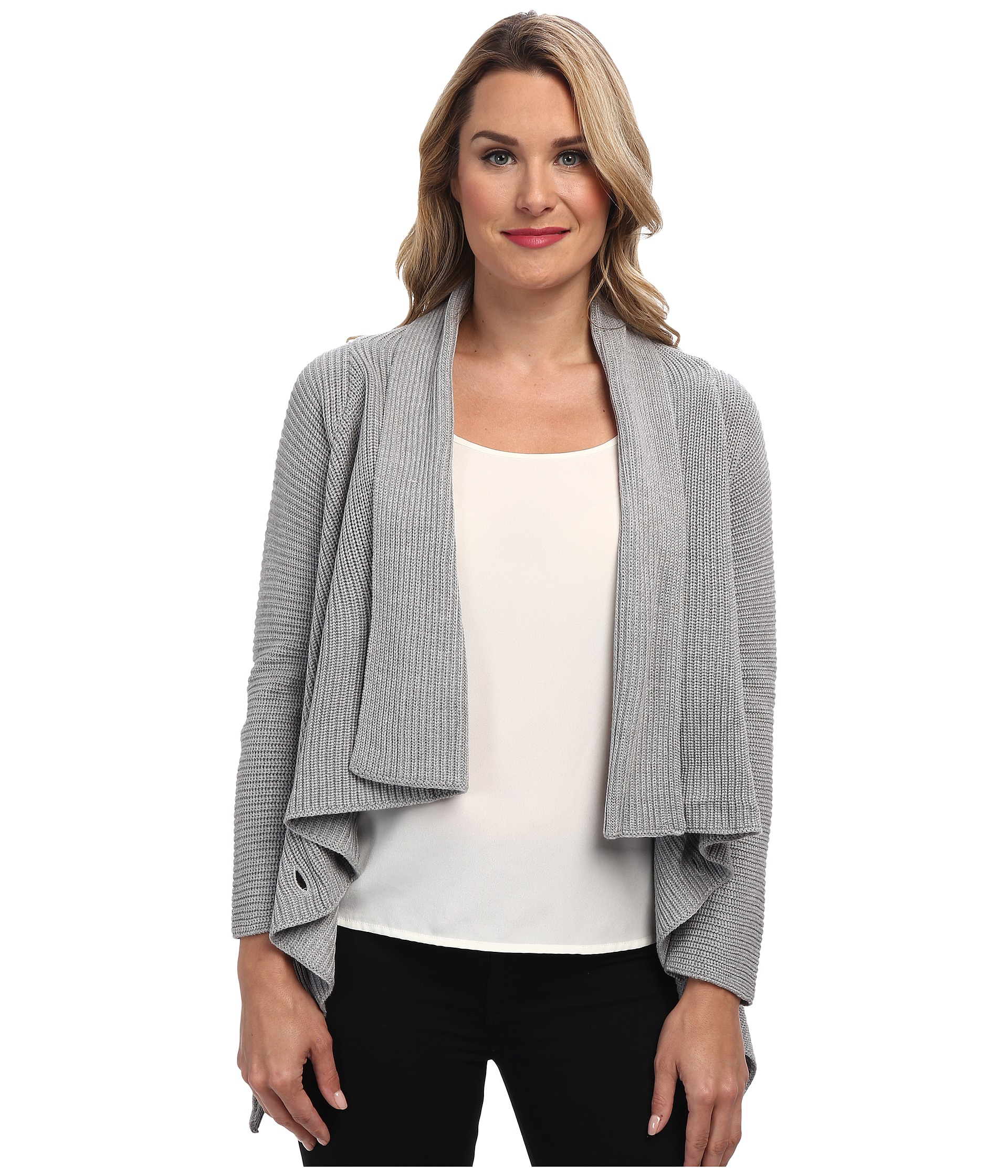 Calvin klein Ribbed Sweater Jacket in Gray | Lyst