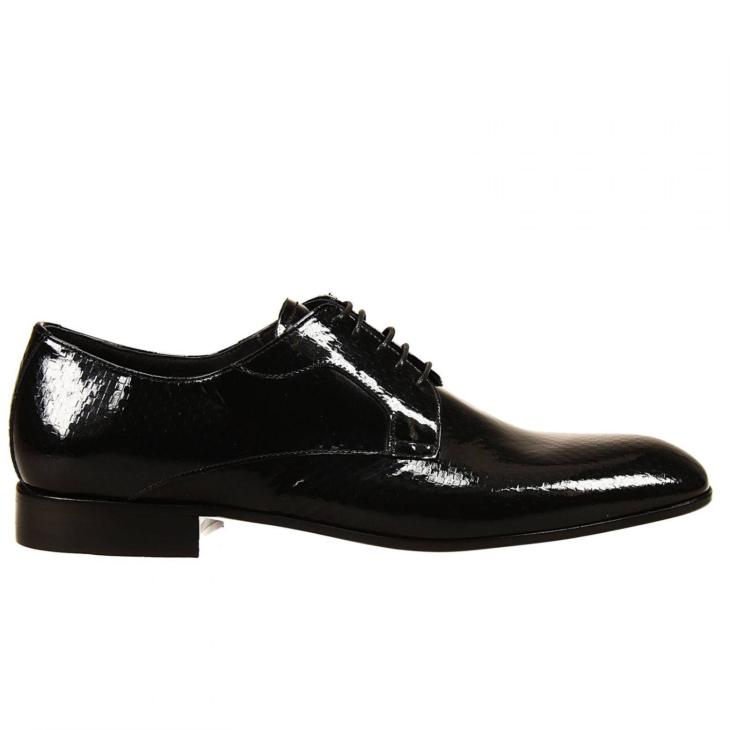 emporio armani lace up shoes leather sole derby in patent