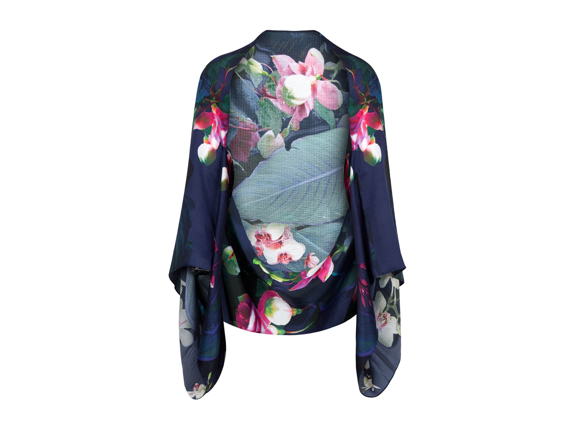 ted baker faricap floral silk cape scarf in blue lyst