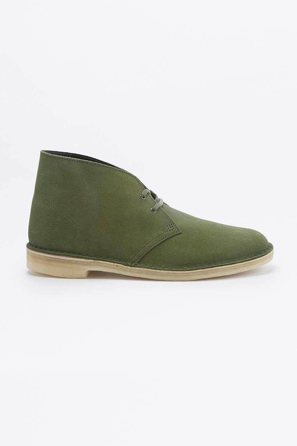 Clarks Leaf Green Suede Desert Boots In Green For Men Lyst