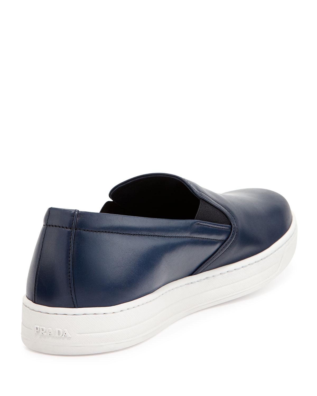 prada leather slip on sneaker in blue for lyst
