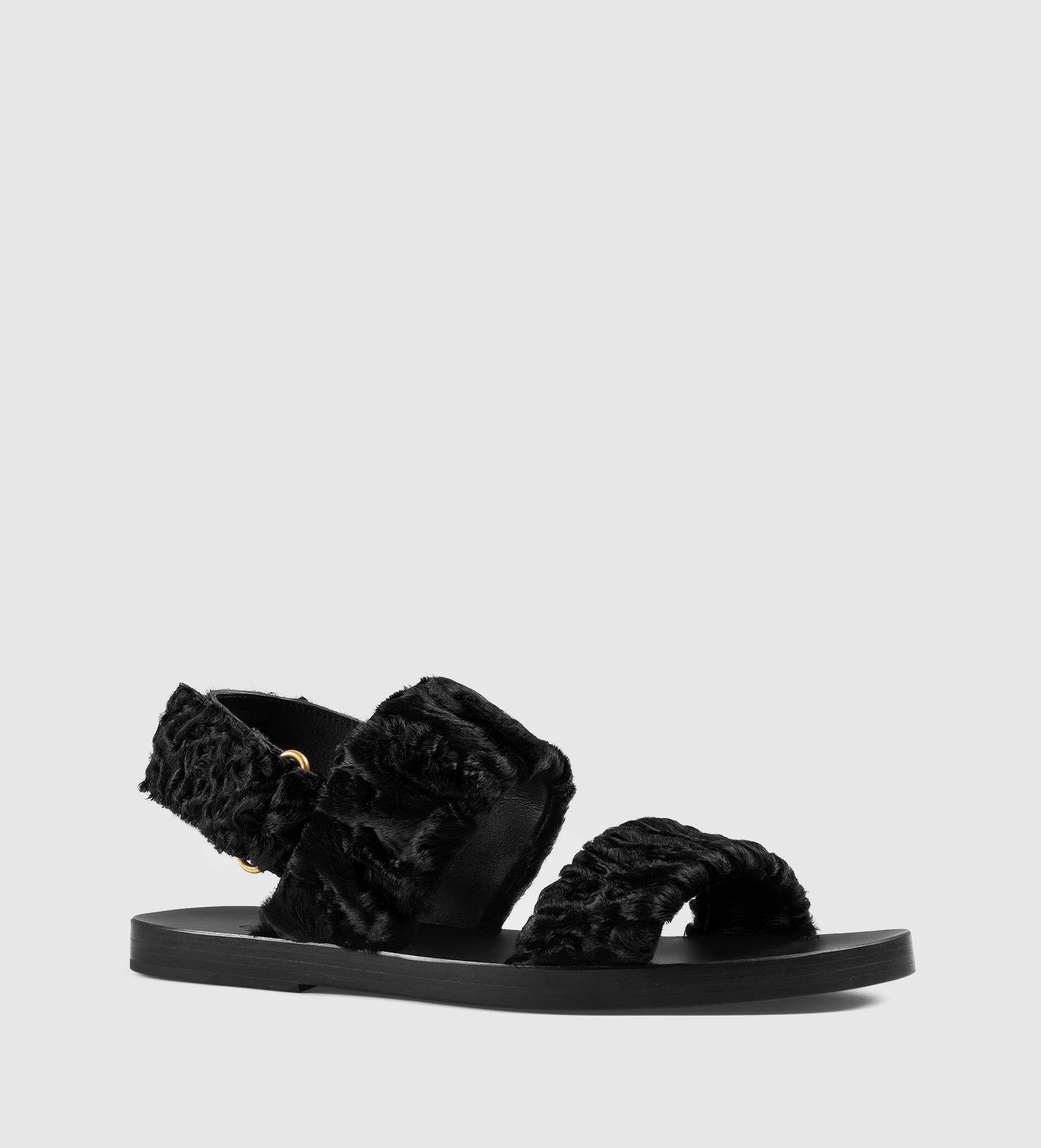 113f6b8ff Lyst - Gucci Lamb Sandal in Black for Men