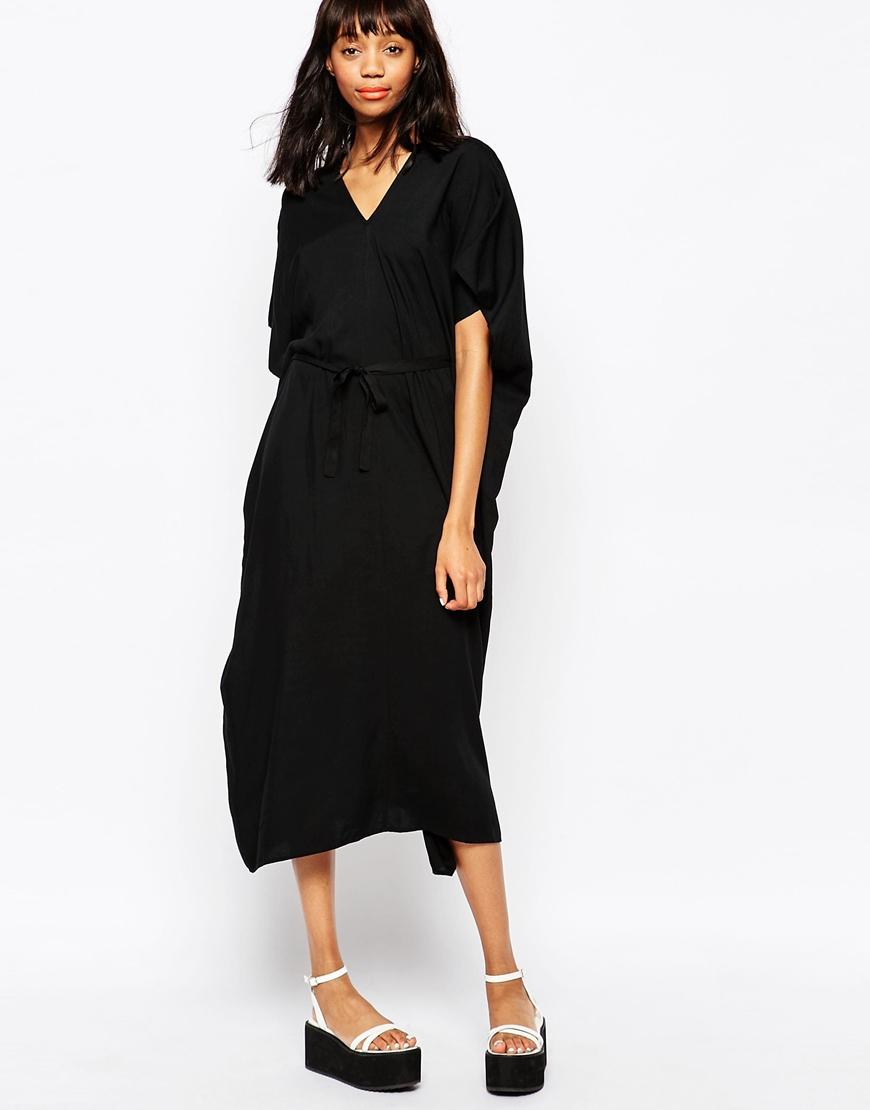 Monki Synthetic Kimono Sleeve Dress In Black Lyst