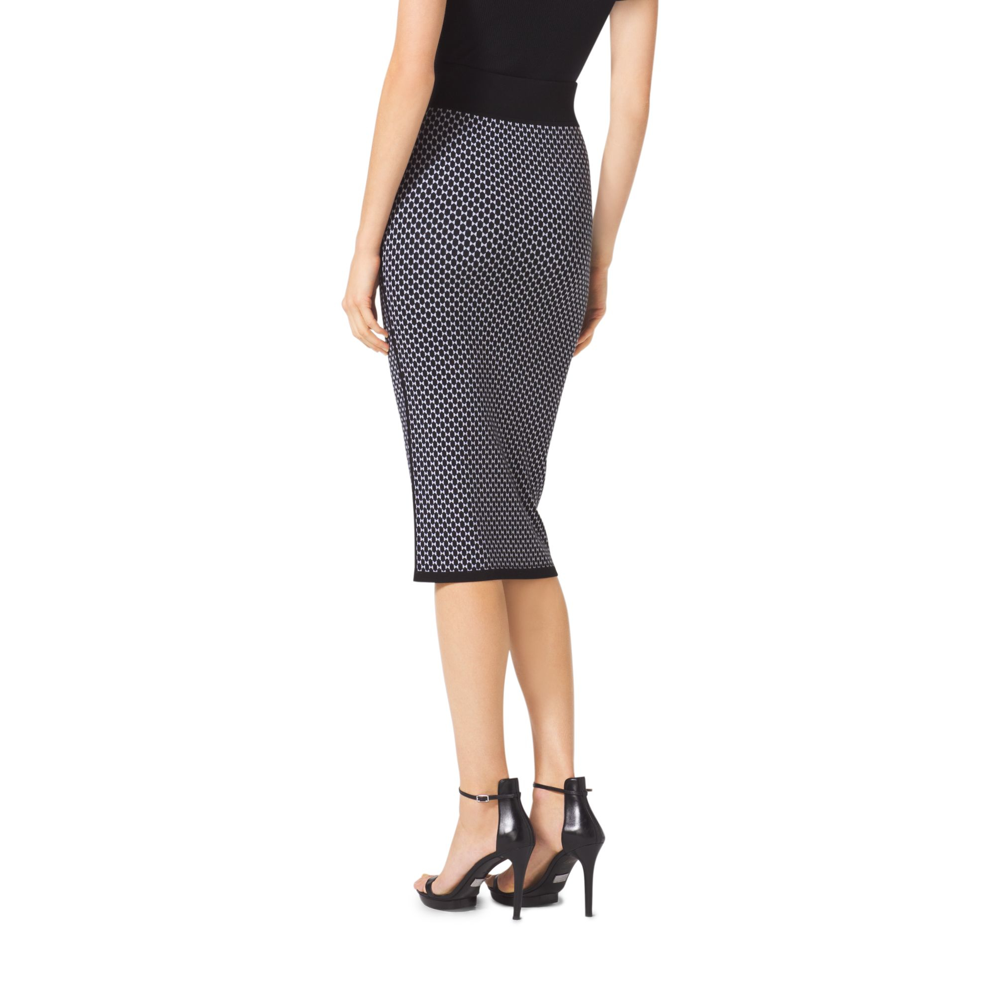 Michael kors Diamond Jacquard Cotton And Wool Pencil Skirt in ...