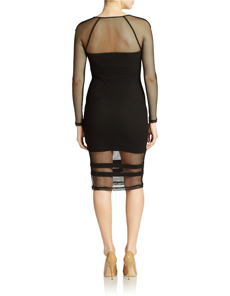 Guess fishnet contrast dress lyst for Fish net dress