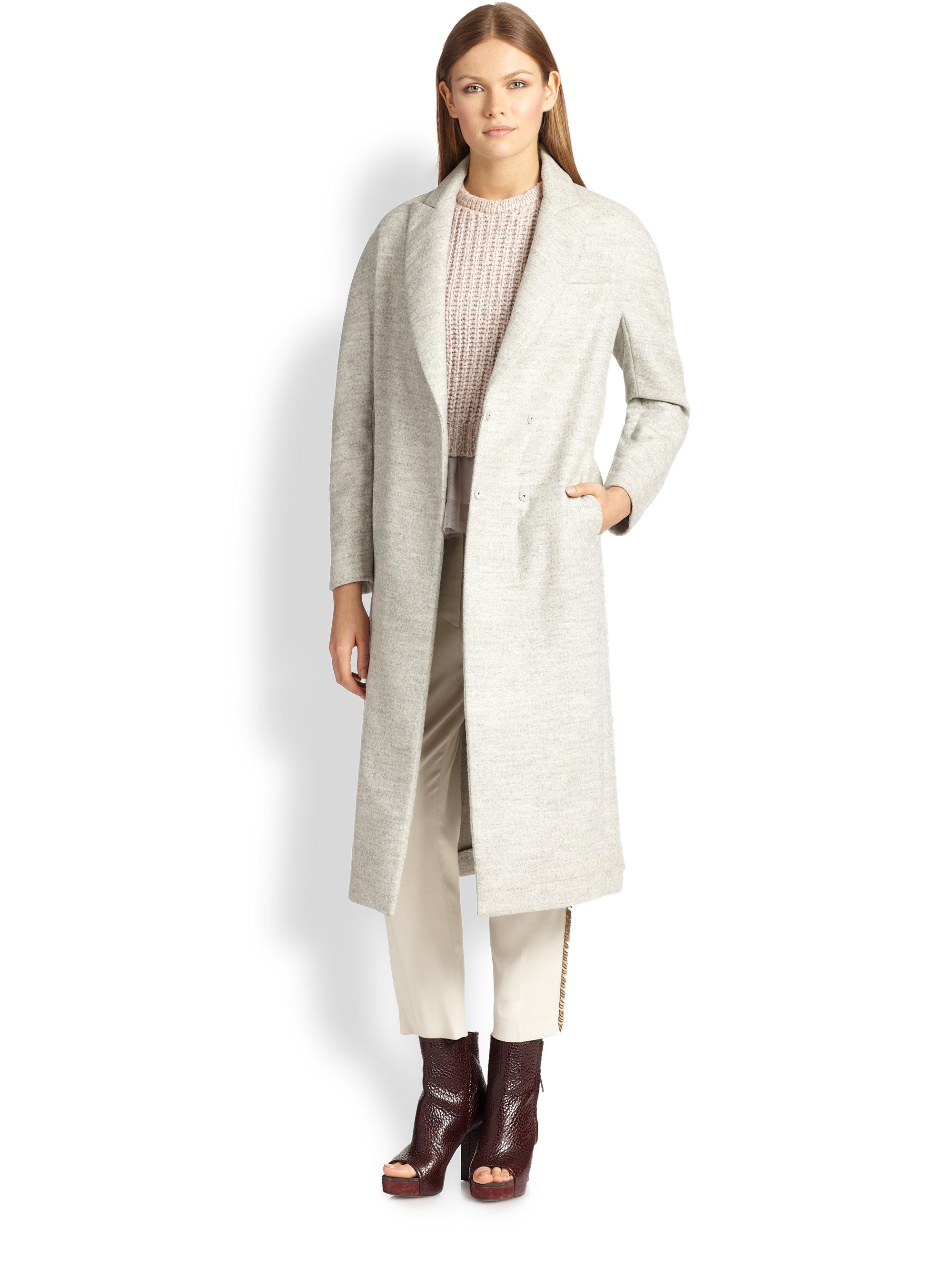 Lyst Brunello Cucinelli Alpaca Coat In Gray