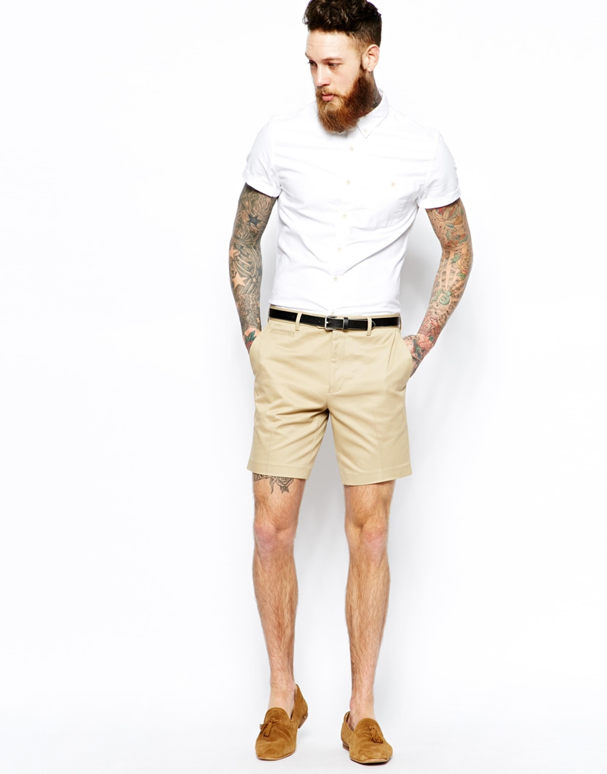 Asos Slim Fit Smart Chino Shorts in Natural for Men | Lyst