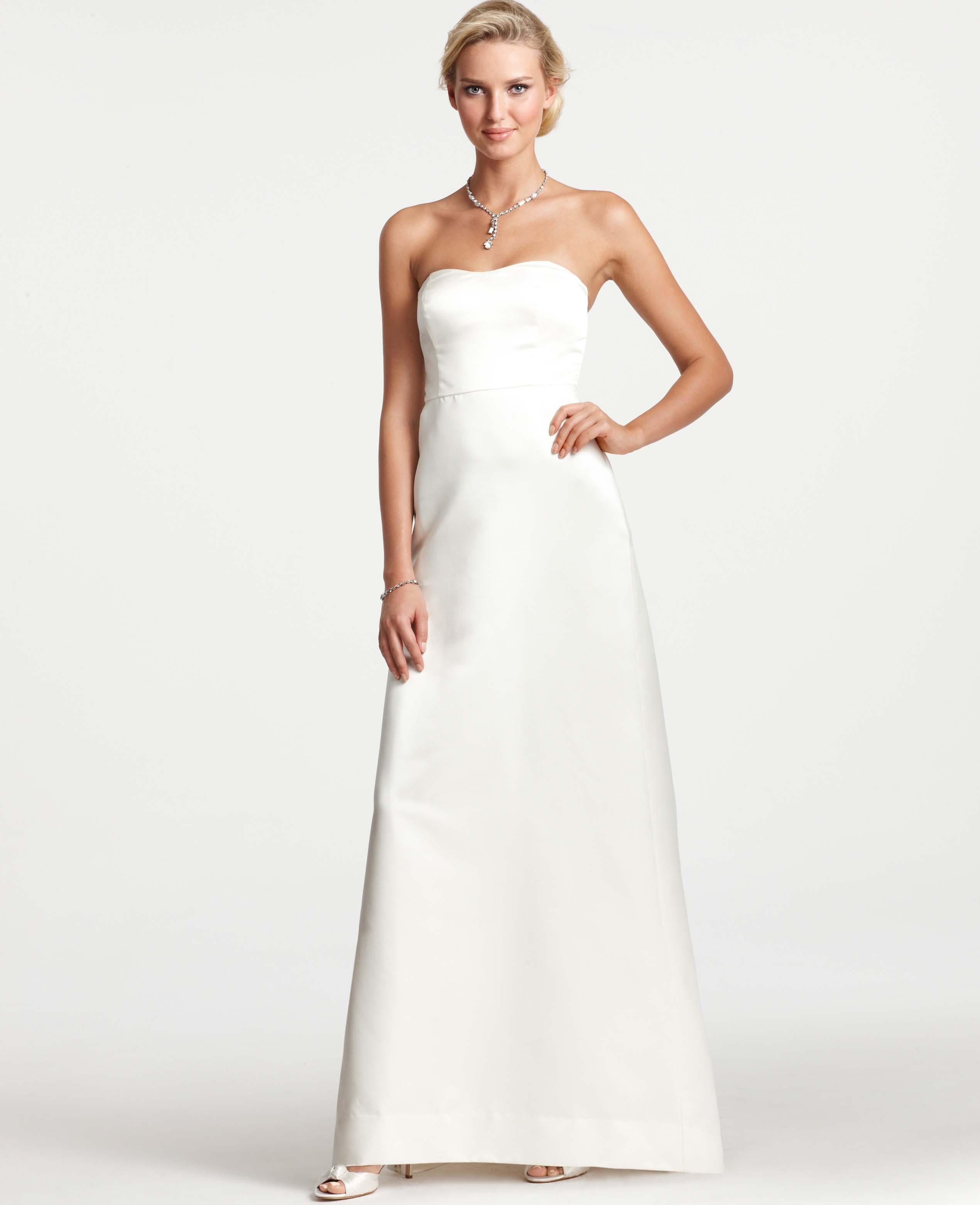 White Satin Strapless Dress - RP Dress